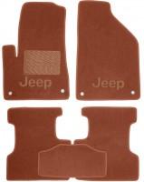 Коврики в салон для Jeep Cherokee '14- текстильные, терракотовые (Премиум)