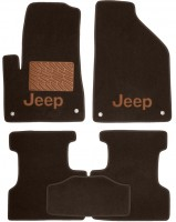 Коврики в салон для Jeep Cherokee '14- текстильные, коричневые (Премиум)