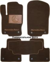 Коврики в салон для Mercedes CLS-Class C218 '10- текстильные, коричневые (Премиум) 2 клипсы