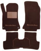 Коврики в салон для Mercedes GLA X156 '13- текстильные, коричневые (Премиум) 2 клипсы