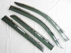 Дефлекторы окон для Toyota Hilux '15- дымчатые, с хром. молдингом (ASP)