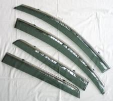 Дефлекторы окон для Nissan Qashqai '06-14 дымчатые, с хром. молдингом (ASP)