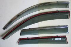 Дефлекторы окон для Volkswagen Touareg '10-18 дымчатые, с хром. молдингом (ASP)