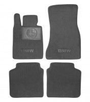 Коврики в салон для BMW 7 G11 '15- текстильные, серые (Премиум)