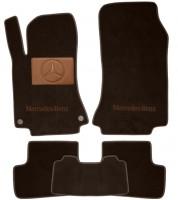 Коврики в салон для Mercedes CLA-Class '13- текстильные, коричневые (Премиум) 2 клипсы