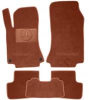 Коврики в салон для Mercedes CLA-Class '13- текстильные, терракотовые (Премиум) 2 клипсы