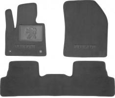 Коврики в салон для Peugeot 3008 '17- текстильные, серые (Премиум) 2 клипсы