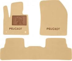 Коврики в салон для Peugeot 3008 '17-  текстильные, бежевые (Премиум) 2 клипсы