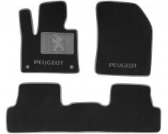 Коврики в салон для Peugeot 3008 '17- текстильные, серые (Люкс) 2 клипсы