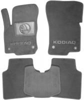 Коврики в салон для Skoda Kodiaq '17- текстильные, серые (Люкс) 4 клипсы