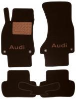 Коврики в салон для Audi A4 '08-15 текстильные, коричневые (Премиум) 4 клипсы