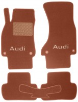Коврики в салон для Audi A4 '08-15 текстильные, терракотовые (Премиум) 4 клипсы