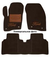 Коврики в салон для Ford Mondeo '15- текстильные, коричневые (Премиум) 2 клипсы