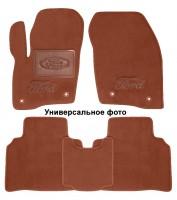 Коврики в салон для Ford Mondeo '15- текстильные, терракотовые (Премиум) 2 клипсы