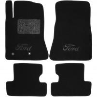 Коврики в салон для Ford Mustang '15- текстильные, черные (Премиум) 2 клипсы