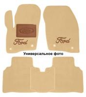 Коврики в салон для Ford Mustang '15- текстильные, бежевые (Премиум) 2 клипсы