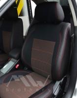 Авточехлы Premium для салона Volkswagen Transporter T5 '03-15, пассажирский (10 мест), красная строчка (MW Brothers)