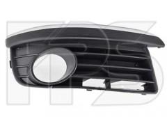 Решетка бампера для Volkswagen Jetta V '06-10 правая,с отверстием под ПТФ, накладкой и хром ресничкой (FPS)