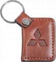 """Брелок для ключей коричневый с логотипом """"Mitsubishi"""" книжка"""
