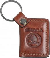 """Брелок для ключей коричневый с логотипом """"Skoda"""" книжка"""