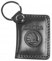 """Брелок для ключей черный с логотипом """"Skoda"""" книжка"""