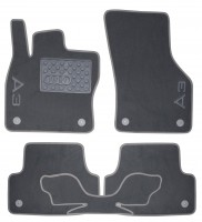 Коврики в салон для Audi A3 '12- текстильные серые (Премиум) 8 клипс