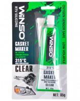 Высокотемпературный силиконовый герметик прокладок GASKET MAKER CLEAR 85 г., +350°C, прозрачный (WINSO)