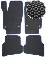 Коврики в салон для Volkswagen Polo '10- седан, EVA-полимерные, серые с синим кантом (Kinetic)