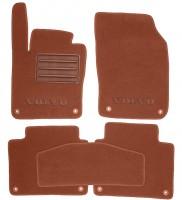 Коврики в салон для Volvo S90 '16- текстильные, терракотовые (Премиум) 8 клипс