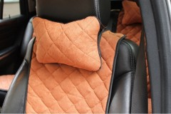 Подушка-подголовник коричневая, алькантара (АVторитет)