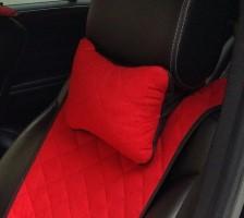 Подушка-подголовник красная, алькантара (АVторитет)