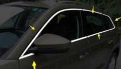 Накладки (молдинги) на окна дверей для Skoda Kodiaq '17-, хром, нержавеющая сталь, верх+низ (ASP)