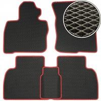 Коврики в салон для Honda Civic 5D '06-12, EVA-полимерные, черные с красной тесьмой (Kinetic)