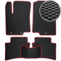 Коврики в салон для Hyundai Accent (Solaris) '11-17, EVA-полимерные, черные, красная тесьма (Kinetic)