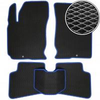 Коврики в салон для Kia Ceed '06-10, EVA-полимерные, черные с синей тесьмой (Kinetic)