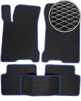 Коврики в салон для Renault Laguna '07-15, EVA-полимерные, черные, синяя тесьма (Kinetic)