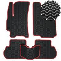 Коврики в салон для Daewoo Lanos / Sens '98-, EVA-полимерные, черные с красной тесьмой (Kinetic)