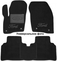 Коврики в салон для Ford Fiesta '18-текстильные, черные (Люкс) 2 клипсы