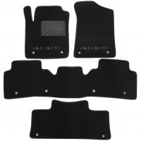Коврики в салон для Infiniti QX80 '11- 3 ряда текстильные, черные (Люкс) 10 клипс