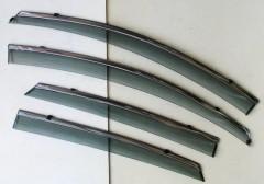 Дефлекторы окон для Nissan Sentra '13-, с хром. молдингом (ASP)