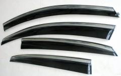 Дефлекторы окон для Volkswagen Polo '10- седан, с хром. молдингом (ASP)