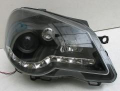 Передние фары для Volkswagen Polo '05-09, черные, LED (ASP)