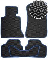 Коврики в салон для BMW X1 E84 '09-15, EVA-полимерные, черные с синей тесьмой (Kinetic)