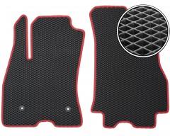 Коврики в салон передние для Fiat Doblo '10-, EVA-полимерные, черные с красной тесьмой (Kinetic)