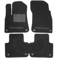 Коврики в салон для Volkswagen Touareg '18- текстильные, черные (Премиум) 8 клипс
