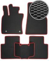 Коврики в салон для Toyota Camry V70 2018-, EVA-полимерные, черные с красной тесьмой (Kinetic)