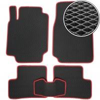 Коврики в салон для Nissan Micra '03-10, EVA-полимерные, черные с красной тесьмой (Kinetic)