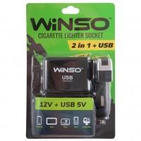 Разветвитель прикуривателя на 2 гнезда +USB 200120 (Winso)