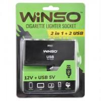 Разветвитель прикуривателя на 2 гнезда +2 USB 200110 (Winso)