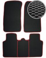 Коврики в салон для ЗАЗ Славута '99-11, EVA-полимерные, черные с красной тесьмой (Kinetic)
